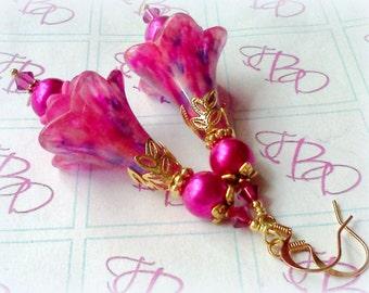 Flower Earrings, Victorian Earrings, Hand Painted Earrings, Boho Earrings, Handmade Earrings, Lucite Earrings, Pink Earrings, Hot Pink, Boho