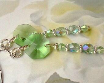 Mint Green Earrings, Handmade Earrings, Prism Earrings, Beaded Mint Green Prism Earrings, Czech Bead and Prism Earrings, Springtime Earrings