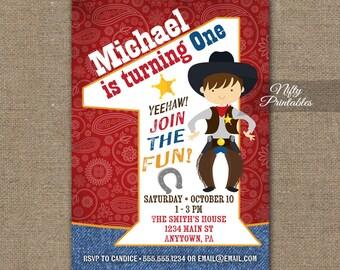 Cowboy Birthday Invitation - 1st Birthday Invitations - Boys 1st Birthday Party Invites - Printable One Year Old Cowboy Invitation Rodeo CW1
