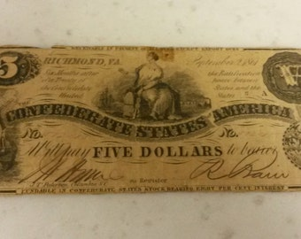 1861 Confederate 5 Dollar Note Richmond Va Currency Civil War Era #57245