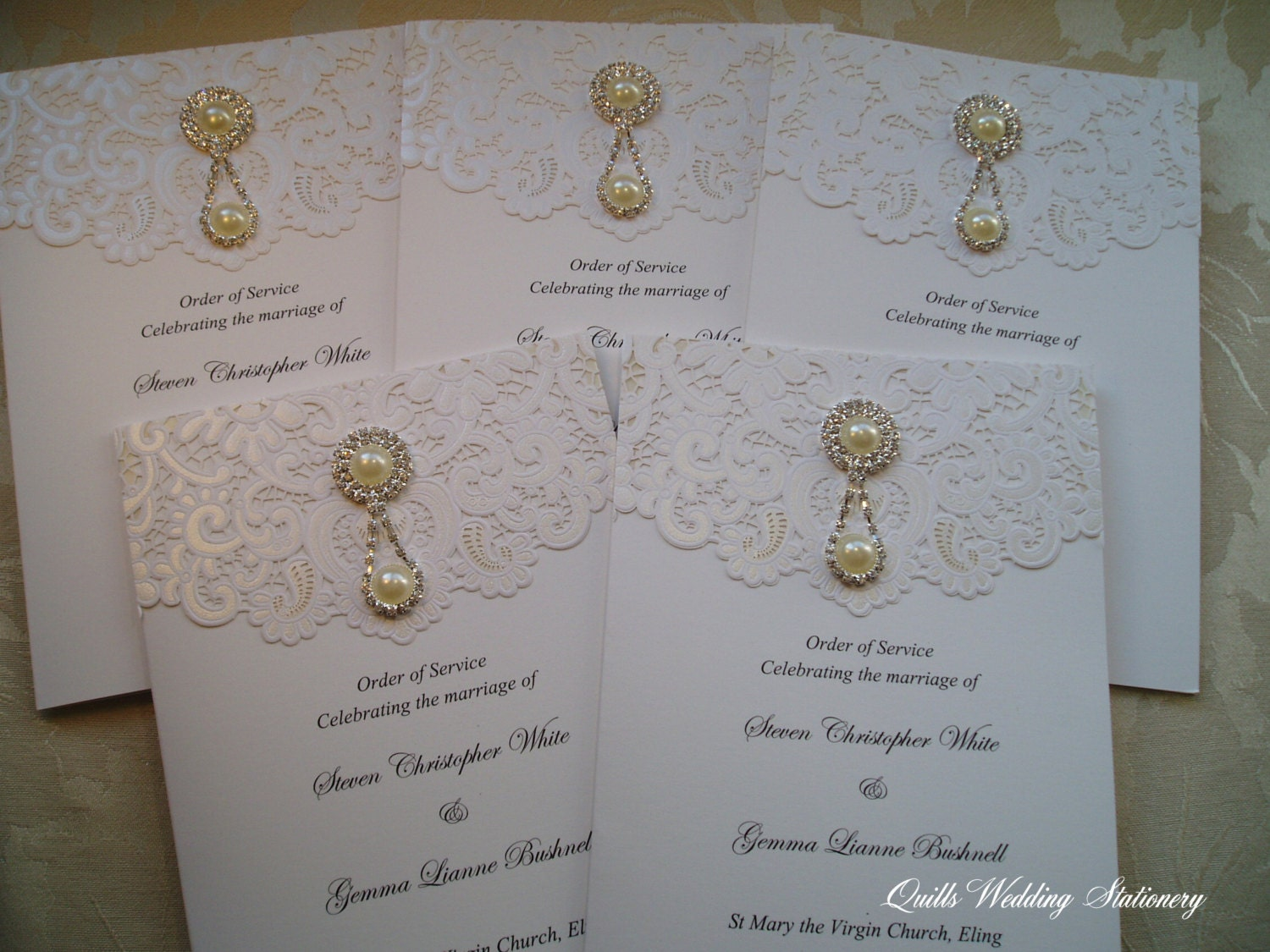 Wedding Order Of Service. Wedding Ceremony Booklet. Pearls And