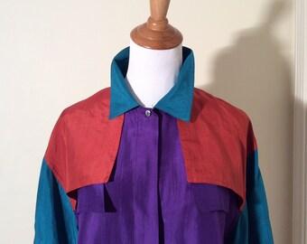 Vintage 1980s Chance Encounters 100% Silk Multicolored Blouse