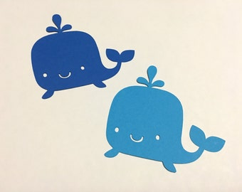 Set of 20 - Whale Cutouts, 2 Shades of Blue