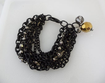 Vintage Biker Chic Multi Chain Bracelet with Disco Ball Beads Avant Garde Jewelry Edgy Jewelry Black Chain Layered Chain Small Bracelet