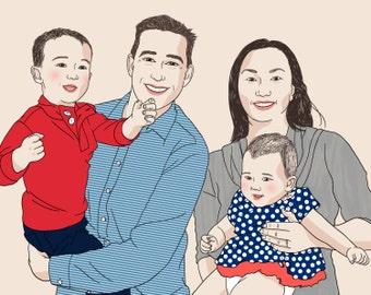 portrait de famille personnalis 4 personnes dessin par toddborka. Black Bedroom Furniture Sets. Home Design Ideas