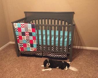 Crib Linens- Fitted Sheet, Skirt, Quilt
