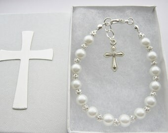 First Communion Bracelet with White Pearl Beads Cross, Chalice, Angel, Angel Wings Charm Confirmation Jewelry Girls Religious Gifts