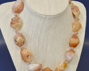 Vintage Large Agate Stone and Crystal Necklace with Sterling Silver Clasp