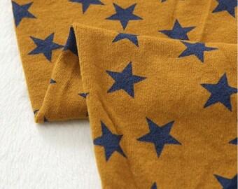 Cotton Jersey Knit Fabric Stars Mustard