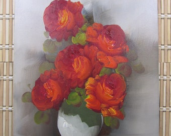 Original oil painting of flowers in a vase