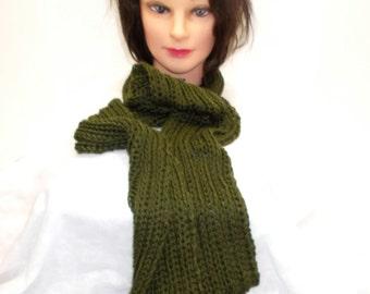 Green Hand Knitted Scarf, Rib Knit Pattern, Long Scarf, Fun Fashion Statement, Warm and Soft, Winter Accessory, Women, Lightweight