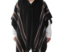 Wool hooded poncho alpaca llama wool warm cloak cape sweater jumper black jacket mens handmade fair trade Bolivia