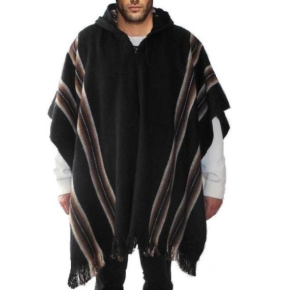 Wool Hooded Poncho Alpaca Llama Wool Warm Cloak Cape Sweater