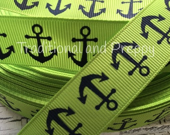 "3 Yards 7/8"" Nautical Navy Anchor on Lime Green grosgrain ribbo"