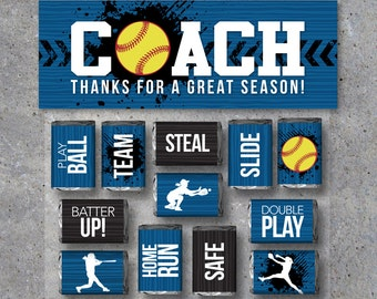 Softball Coach Gift in Blue - Printable Softball Mini Candy Bar Wrappers & Matching Treat Topper - Coach Thank You Gift-End of Season Treats