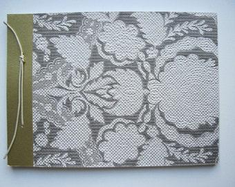 Hand-bound notebook with Golden vintage relief wallpaper. B30