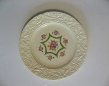 Crooksville China dinner plate. Green Hexagon star, embossed edge, florals on ivory. 1940s china replacement plates