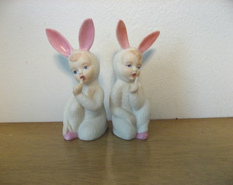 Set of 2 Holland Mold bunny kids with a secret. Kitschy cute retro bunny suits.