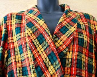 Men's Vintage Towncraft Tartan Flannel Robe/1960s/Loungewear