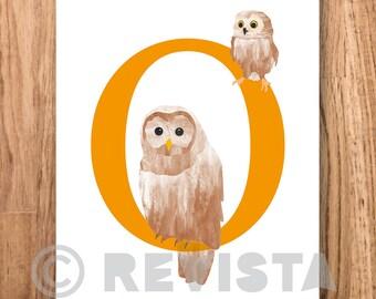 O for owl download, Kids printable, Baby name gift, Nursery wall art, Animal alphabet print, Letter poster childrens room