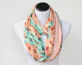 Bohemian  infinity scarf reversible jersey knit scarf lace floral pistachio coral peach feminine loop scarf gift for birthday