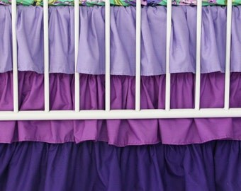 Purple Gradient Ombre Ruffle Crib Skirt