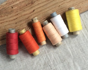 Vintage cotton thread spools set of 6 soviet vintage thread sewing supplies made in USSR sewing collectibles and photo props