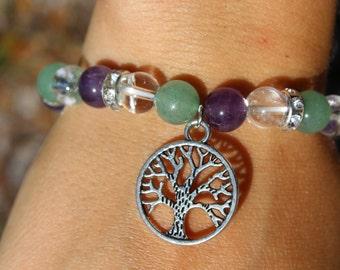 Amethyst Quartz & Aventurine Tree Of Life Bracelet