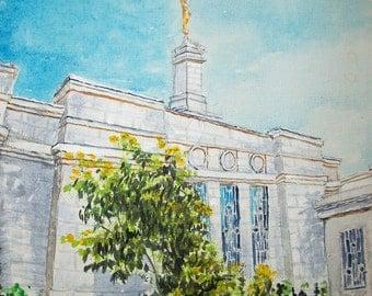 Spokane Washington LDS Temple (digital download of original painting by Bekalyn Craig)