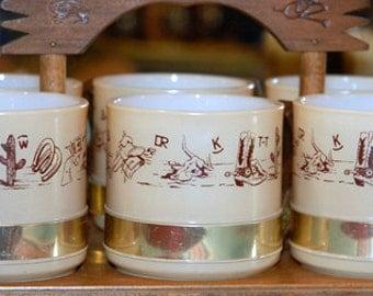 Vintage Siesta Ware Mugs in Wooden Carrier