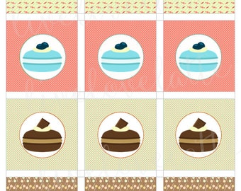 SWEET MACARONS Cupcake Toppers, Gift Tags, Labels (2 in, 2.5 in) - Digital - Instant Download