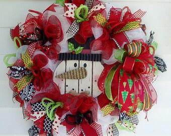 Christmas Wreath, Snowman Wreath, Christmas Deco Mesh Wreath