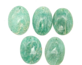 10% off Xmas in July Amazonite Drilled Bead - Top Center Drilled Oval Shaped Amazonite Bead - (RK58B1-11)