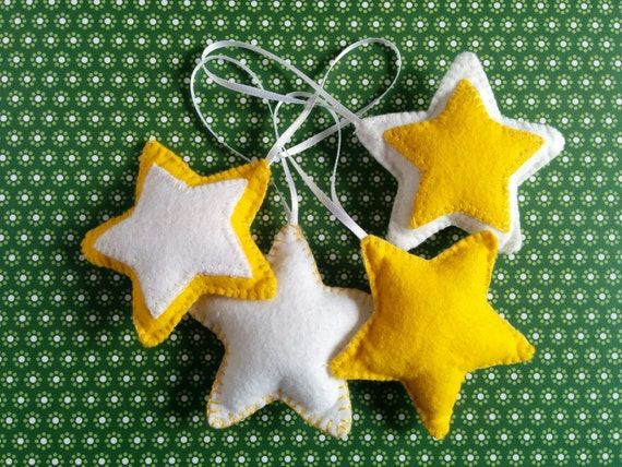 Star felt ornament yellow white christmas tree by gliese d