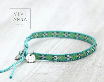 Handwoven bracelet turquoise and mint - A073