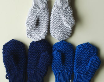 Merino Wool mittens for toddler/ children. Hand Knit Accessory for boys/ girls, Blue mittens with string. More colors. Size 1-3-6-10 years