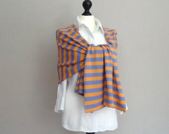 Large scarf / shawl / scarf in finest merino wool in cornflower-orange