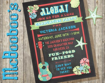 Luau Graduation Invitations with chalkboard background college high school printed or printable