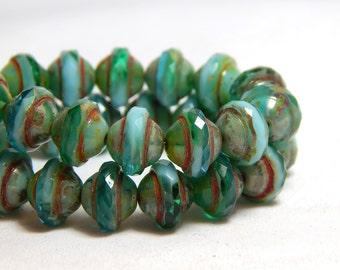 15 Blue Green Beads, Saucer Beads, Saucer Shaped Beads, Greenish Blue Beads, Blue Beads,  Green Beads, Saturn Beads, Blue Beads, T-87C