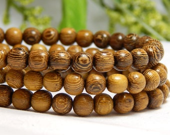6mm Round Robles Wood Beads, Round Wood Beads, 6mm Roble Beads, 6mm Wood Beads, 6mm Robles Wood, Wood Beads, Wooden Beads,  D-J03