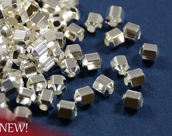 Silver Hexagon Beads, Hexagon Faceted Spacer Beads, Metal Beads, 4mm with 1.5mm Hole in Sterling Silver Plating  - 25 pcs/ pkg