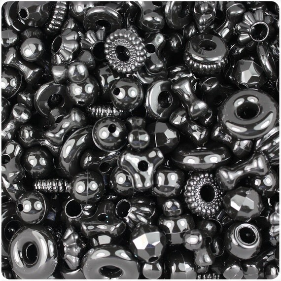 Black Opaque Craft Bead Mix 4oz - TriBeads, Melons, Faceted Rounds, Smooth Rounds, Barrels, Rings, Florals - Made in the USA