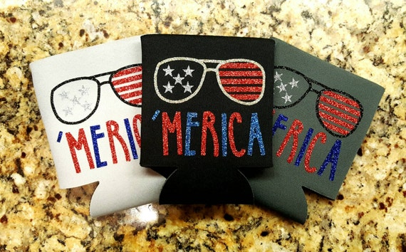 fourth of july can coolers by sassydecals on etsy