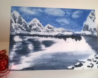 Ice Mountain Lake Bespoke greeting card ideal for special occasions, for that special person; friend, teacher, colleague...