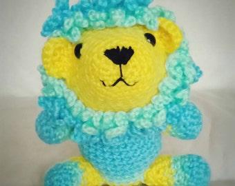 Handmade Crochet Amigurumi Lion in Blue, Green and Yellow