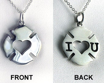 Handmade Doublesided Firefighter Love Badge Necklace - Sterling Silver