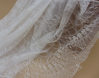 Chantilly Eyelash Lace Trim, Chantilly Lace Fabric, 59 inches Wide for Veil, Dress, Costume, Craft Making, 3 Meter/piece-LSM3L031