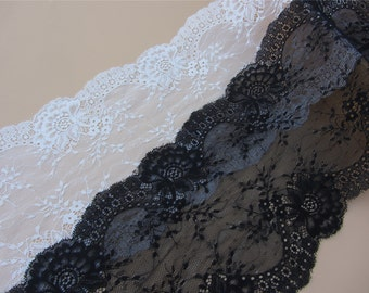 """Off white wedding lace,Stretch Lace Trim - Extra Wide black Lace Trim, 7"""" Wide Lace Trim-LSY024"""