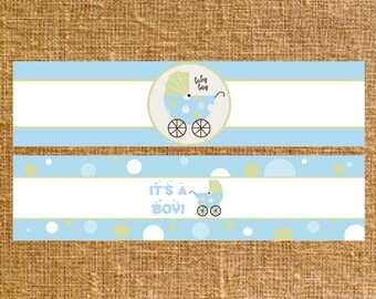 Carriage Baby Shower Party Favors Girl/Boy - Water Bottle Labels - Digital File - INSTANT DOWNLOAD