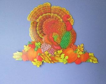 NOS Hinged Thanksgiving Turkey Decoration in Sealed Packs Thanksgiving Die Cut Decoration Turkey Dinner Turkey Day Tom Turkey decoration